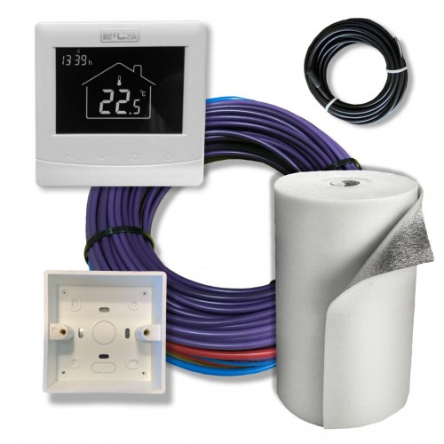 Kit full de instalación 2750w ( hasta 27 m2 ) con termostato wifi programable y aislante isolant de 10mm.